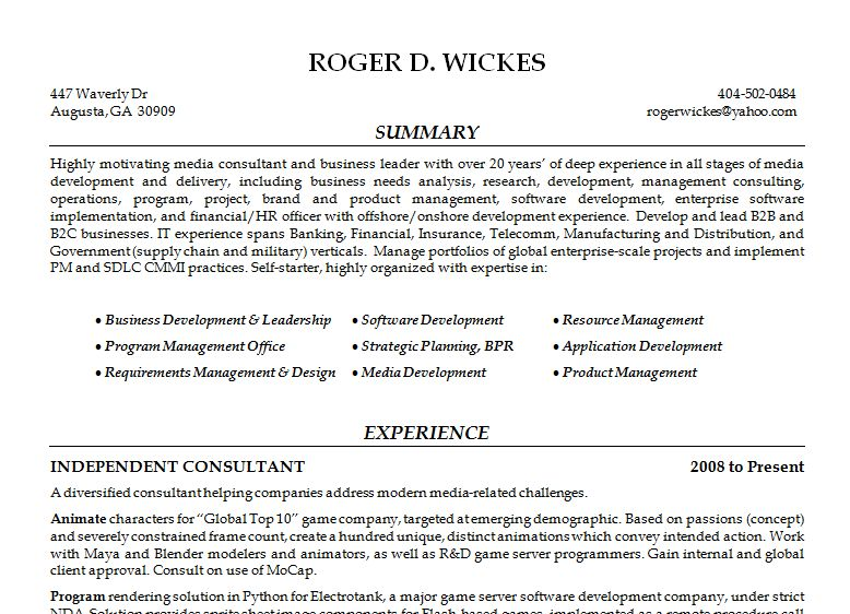 General Resume : Roger Wickes, Creative Software Solutions